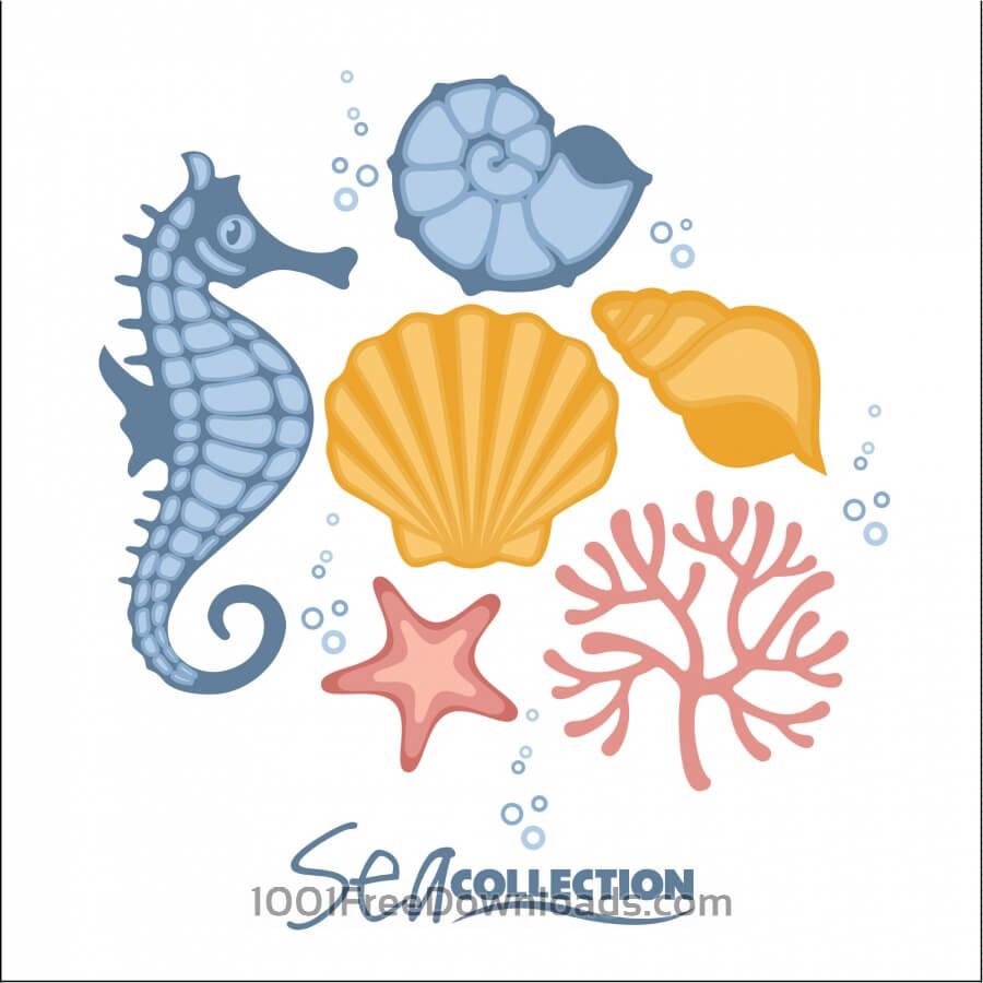 Free Vectors: Vector set of sea fauna.  | Abstract