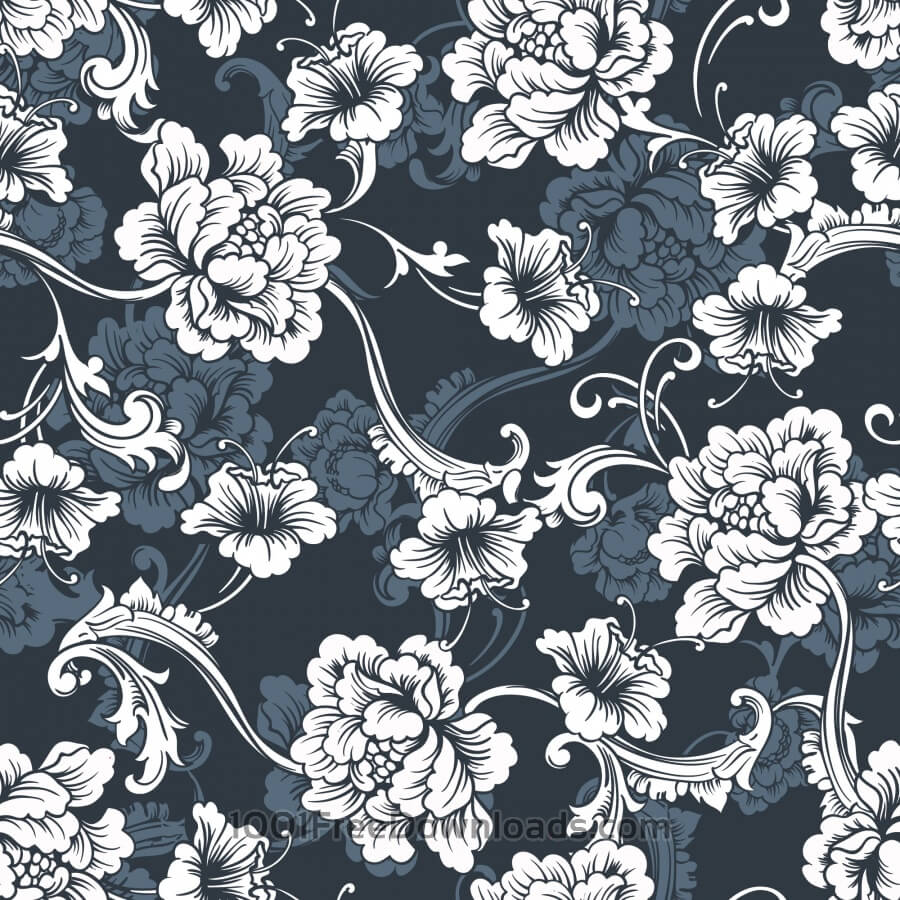 Free Seamless vector background. Baroque pattern