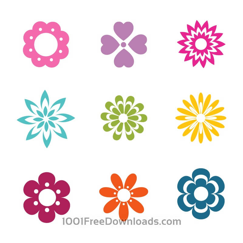 Free Vectors: Vector Flowers Icons | Abstract