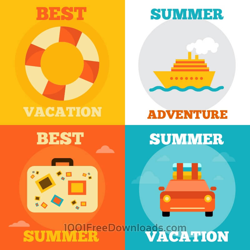 Free Vectors: Summer Vacation Icons | Abstract