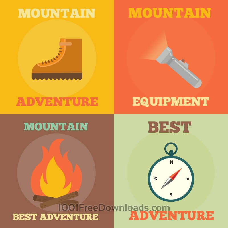Free Vectors: Mountain Adventure Icons | Nature