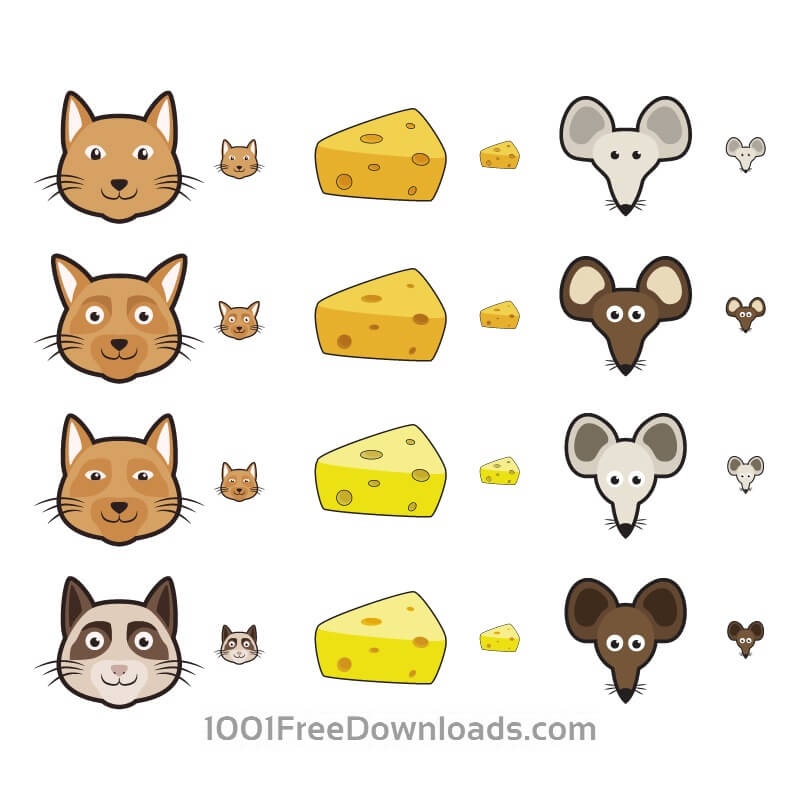 Free Vectors: Cat and Mouse Icons | Icons