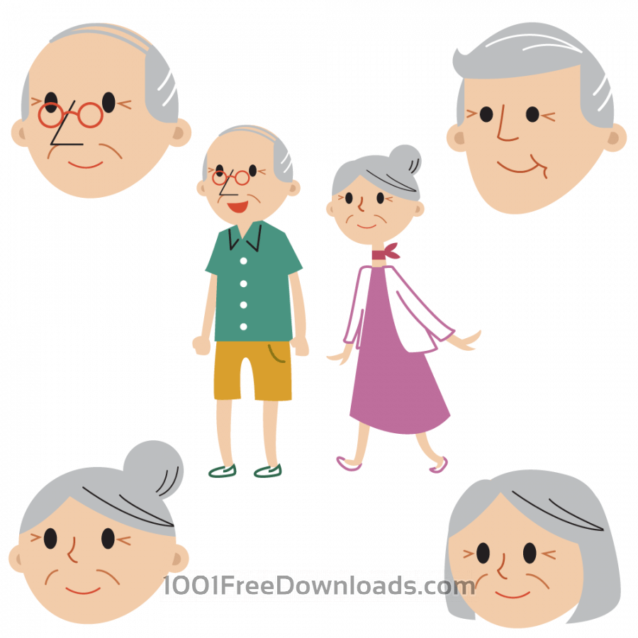 Free Senior couple full body and faces