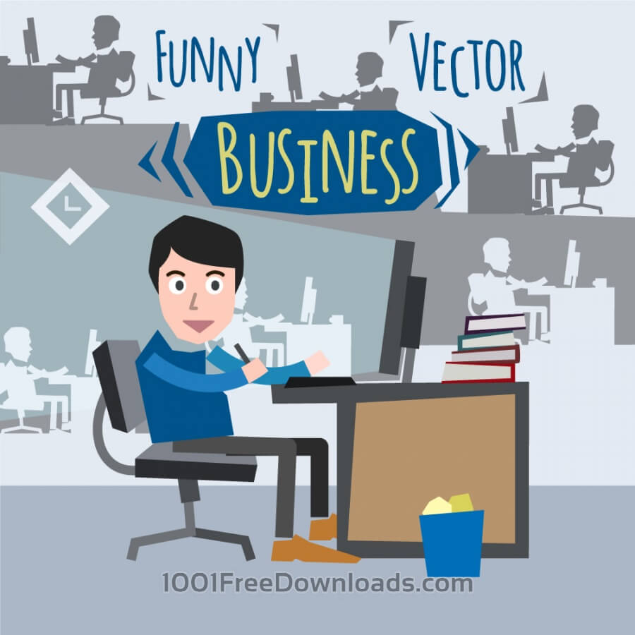 Free Some businessman character sitting at computer. Free for vector design