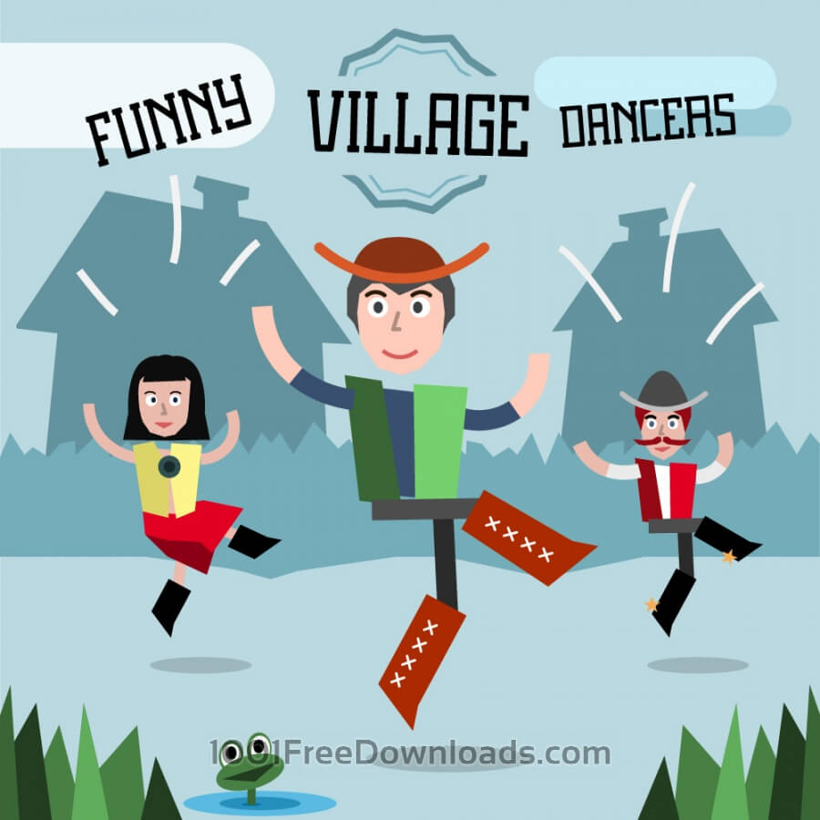 Free Some village people dancing. Three different characters in similar pose. Free for vector design