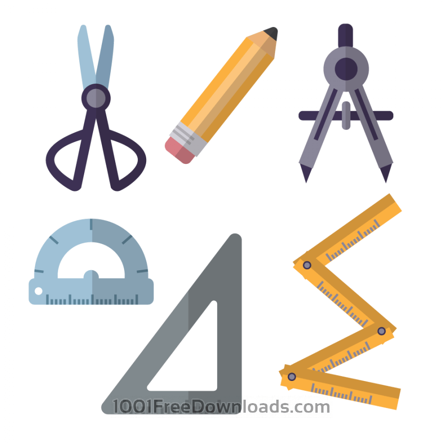 Free Architecture tools flat vector set