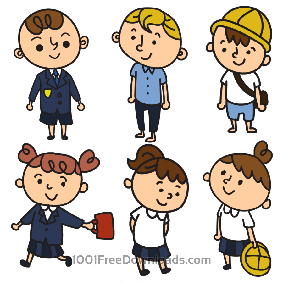 Free Vectors: School children in uniform | Cartoons
