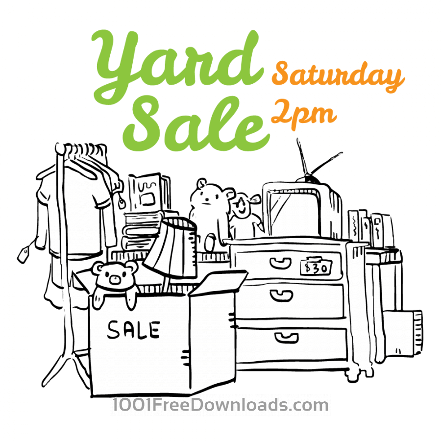 Free Vectors: Yard sale black and white flyer illustration | Cartoons