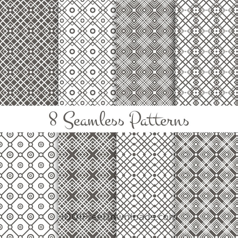 Free Vectors: Black and white geometrical patterns set | Patterns