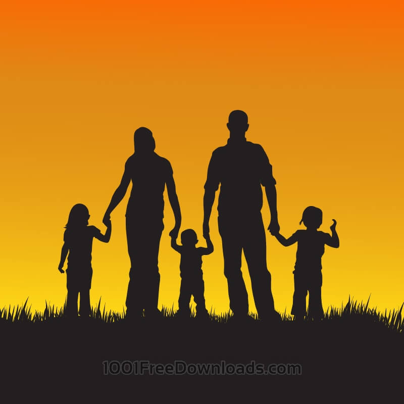 Free Vectors: Family with children silhouette illustration | Abstract