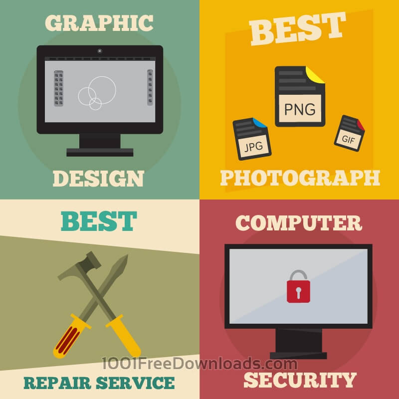Free Vectors: Mini poster set of design, photography, repair, computer jobs | Abstract