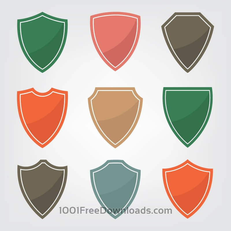 Free Set of color shield icons