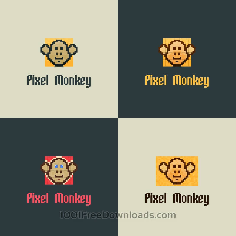 Free Vectors: Pixel Monkey Vector Logo | Abstract