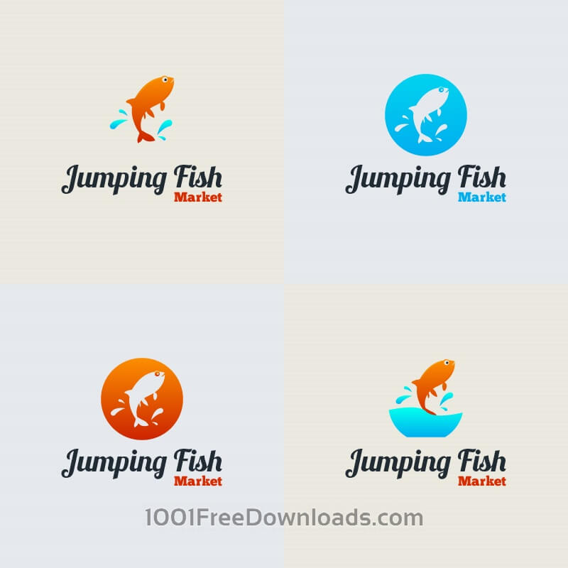 Free Jumping Fish Vector Logo