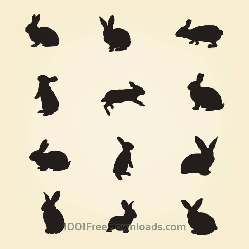 Free Vectors: Rabbit Vector Silhouette Pack | Animals