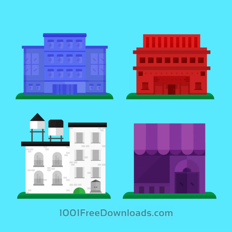 Free Vectors: Building Icons | Objects