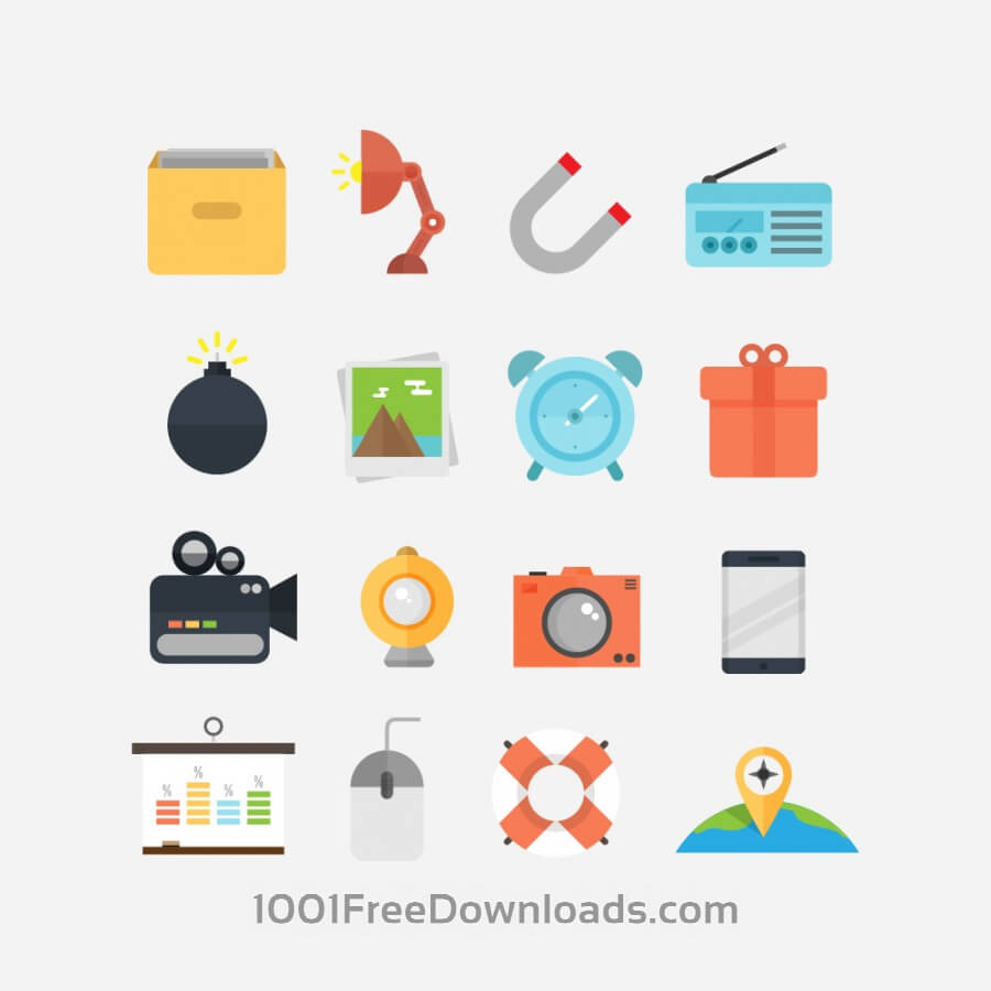 Free Vectors: Flat Icons for UI Design | Objects