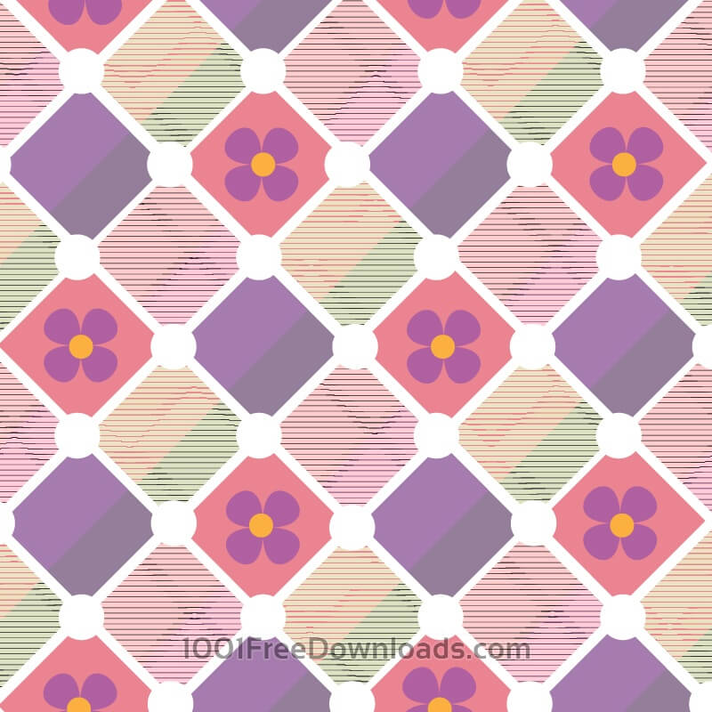 Free Plaid background with flowers