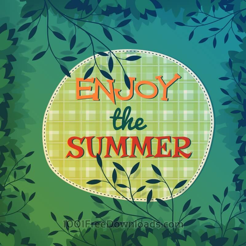 Free Summer nature illustration with leaves