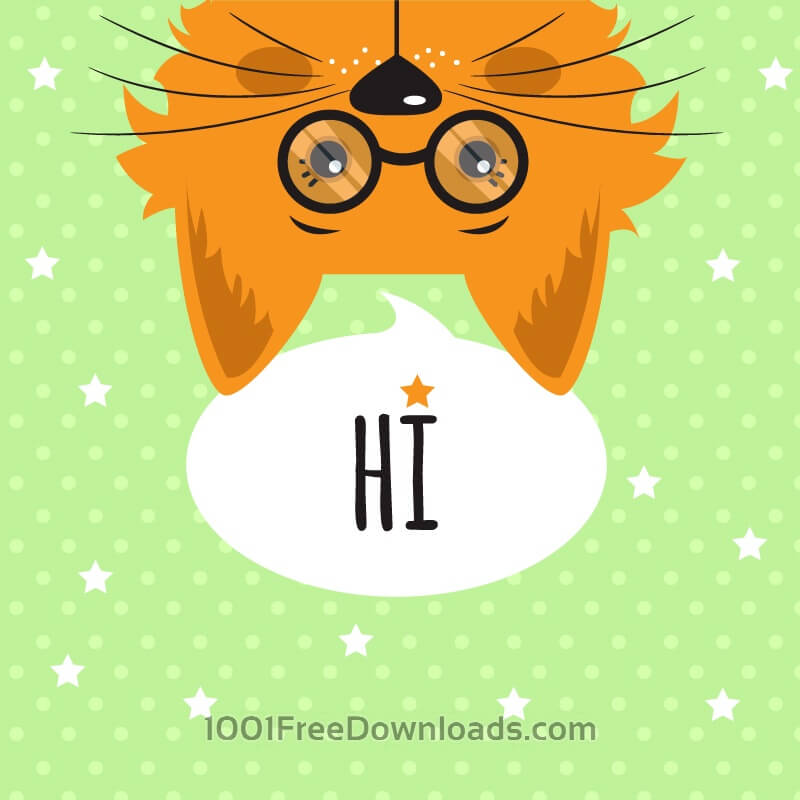 Free Cat with chat bubble vector illustration