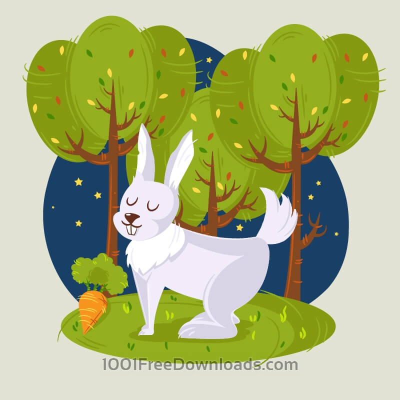 Free Rabbit in the woods vector illustration