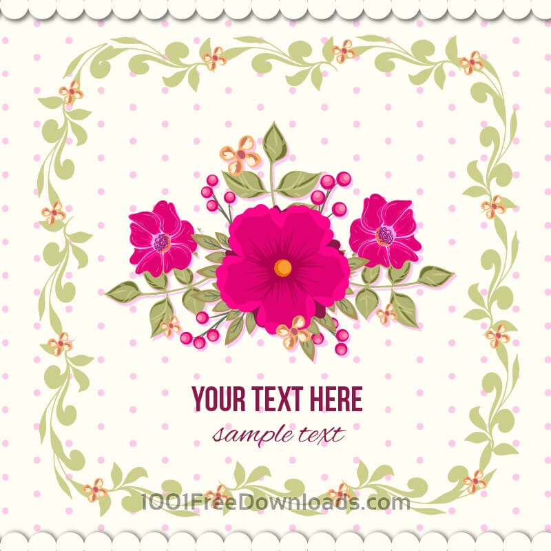 Free Floral illustration with frame