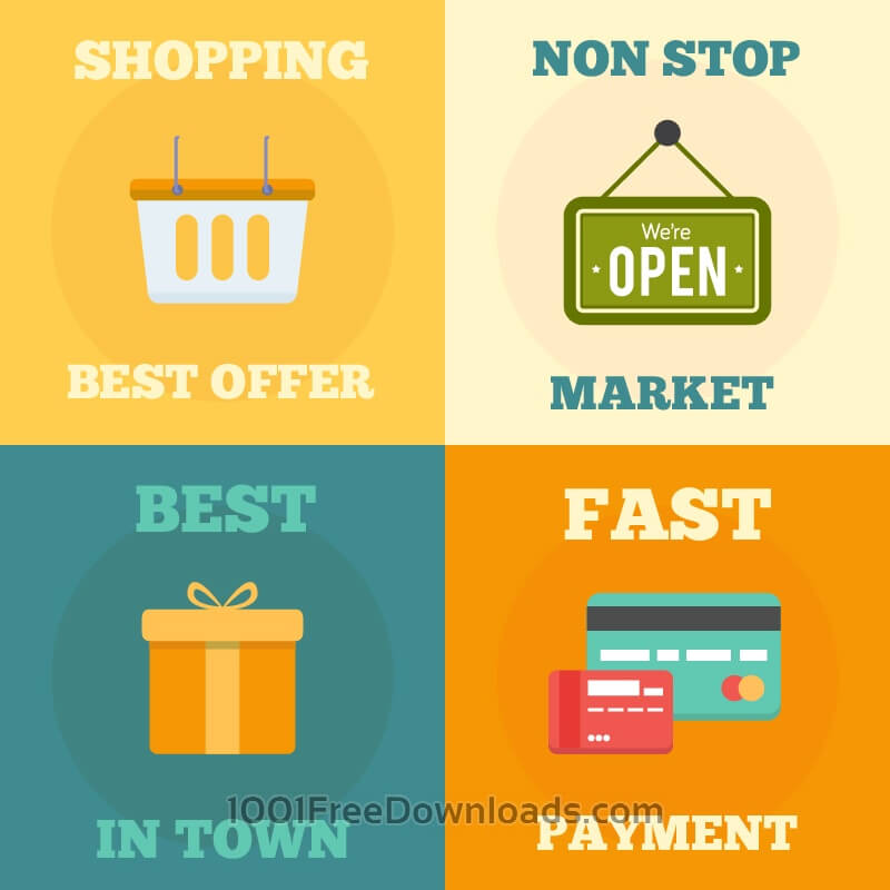Free Vectors: Shopping flat concept design | Business