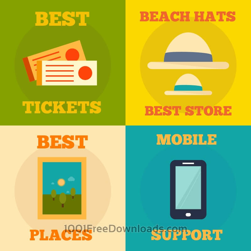 Free Set of flat design concepts- mobile, events, summer, travel