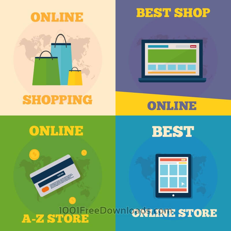 Free Vectors: Online shopping flat concept design | Icons