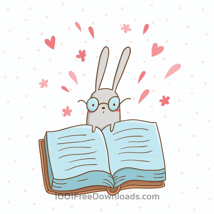 Free Vector illustration of cute bunny and a big book