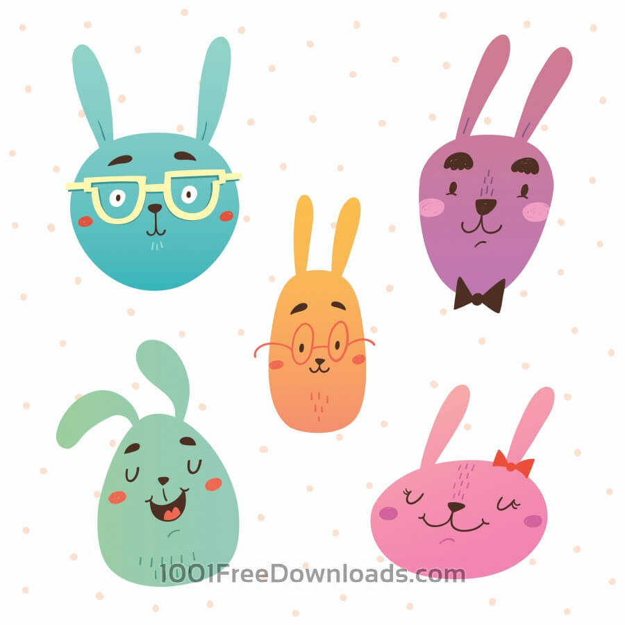 Free Funny bunnies faces vector set