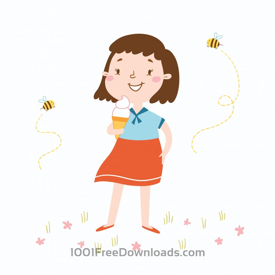 Free Vectors: Vector illustration of cute girl witn an ice cream | Abstract
