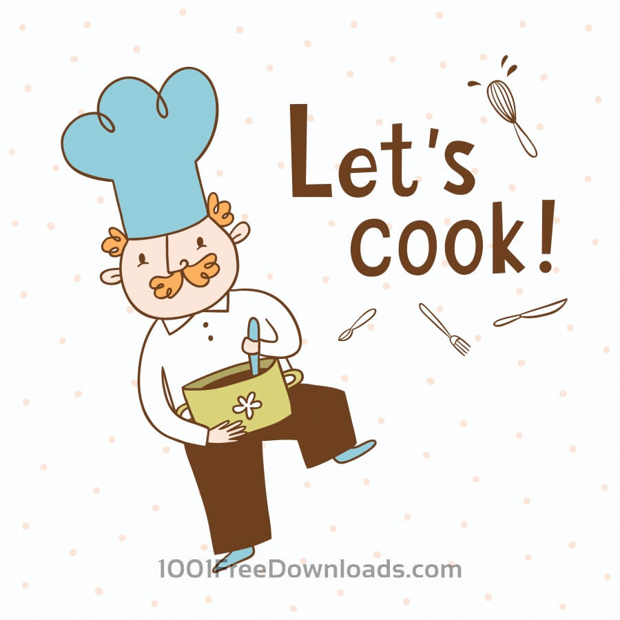 Free Let's cook. Vector illustration of a cook