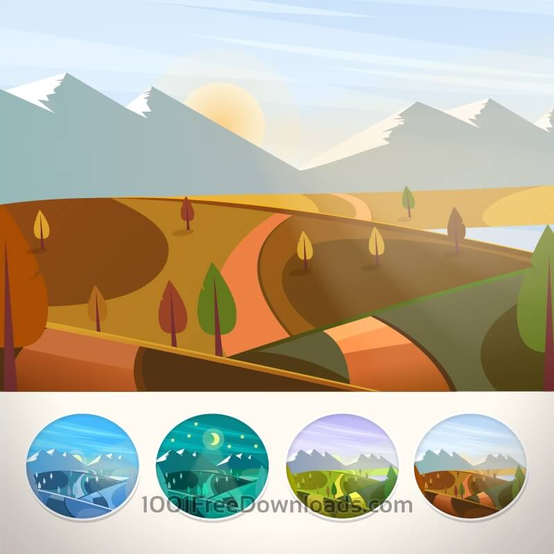 Free Vectors: Mountain landscape in autumn season | Backgrounds