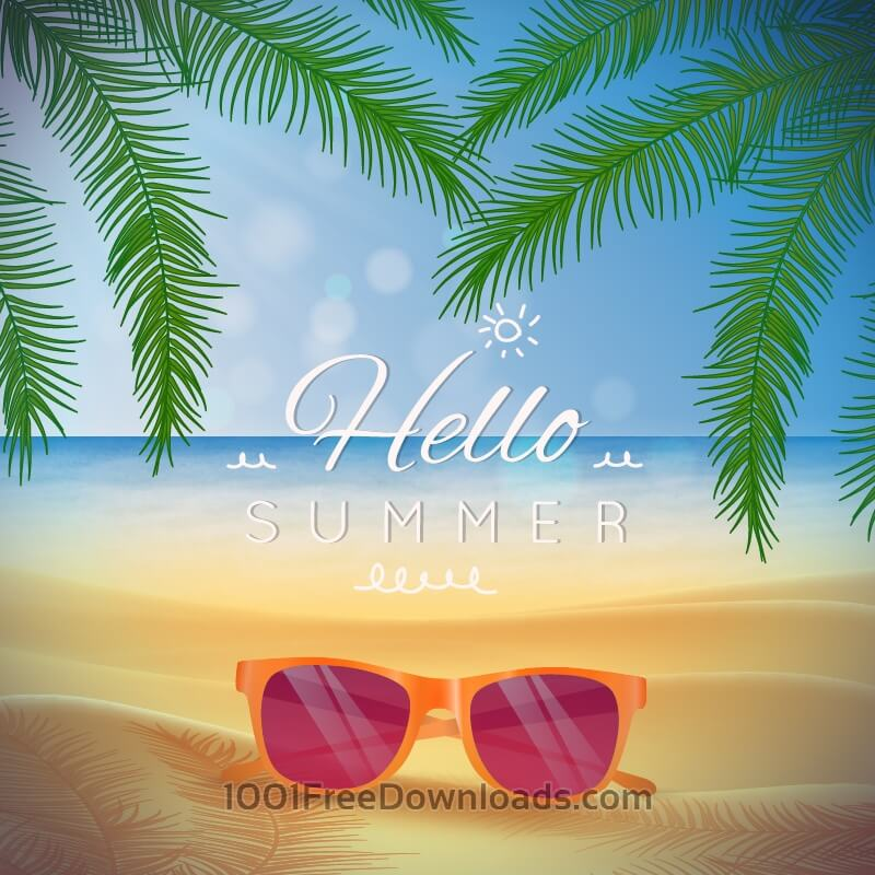 Free Vectors: Summer beach landscape with glasses on the sand | Backgrounds