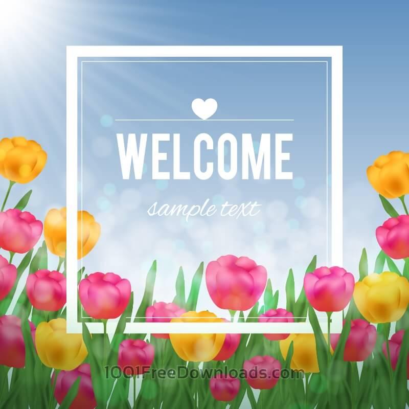Free Floral illustration with tulips and white frame