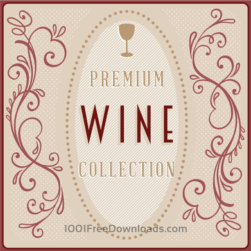Free Wine card with floral decorations