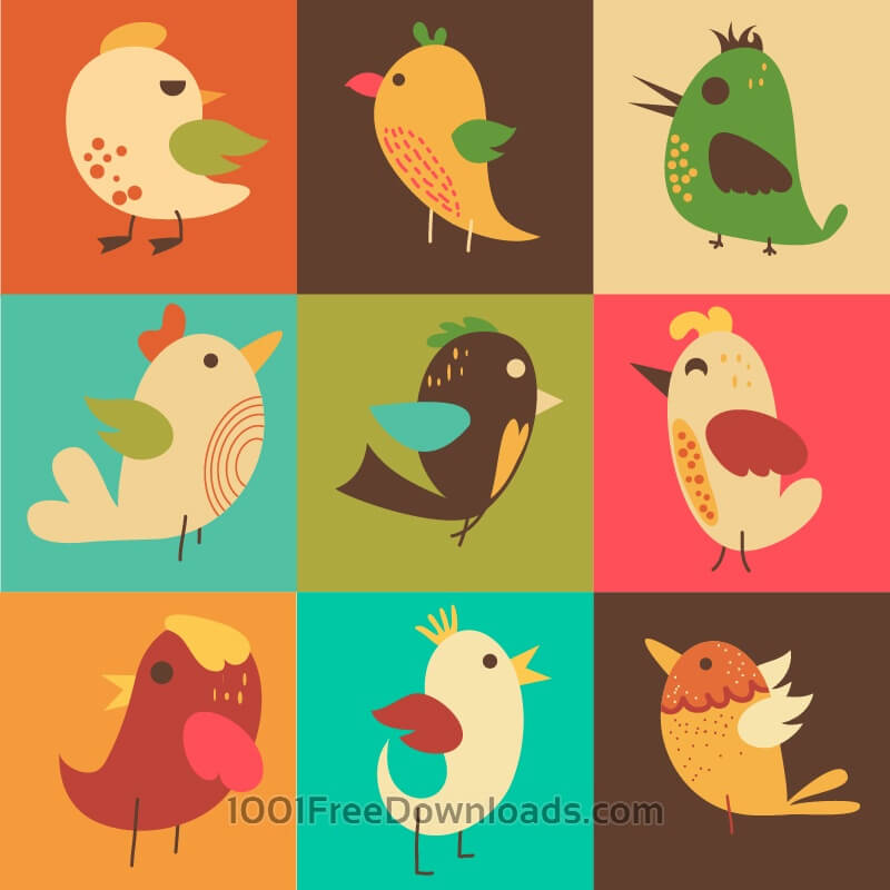 Free Cute vector set of birds