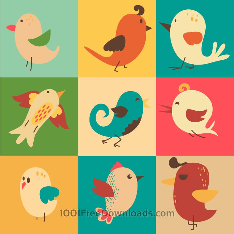 Free Cute vector set of birds