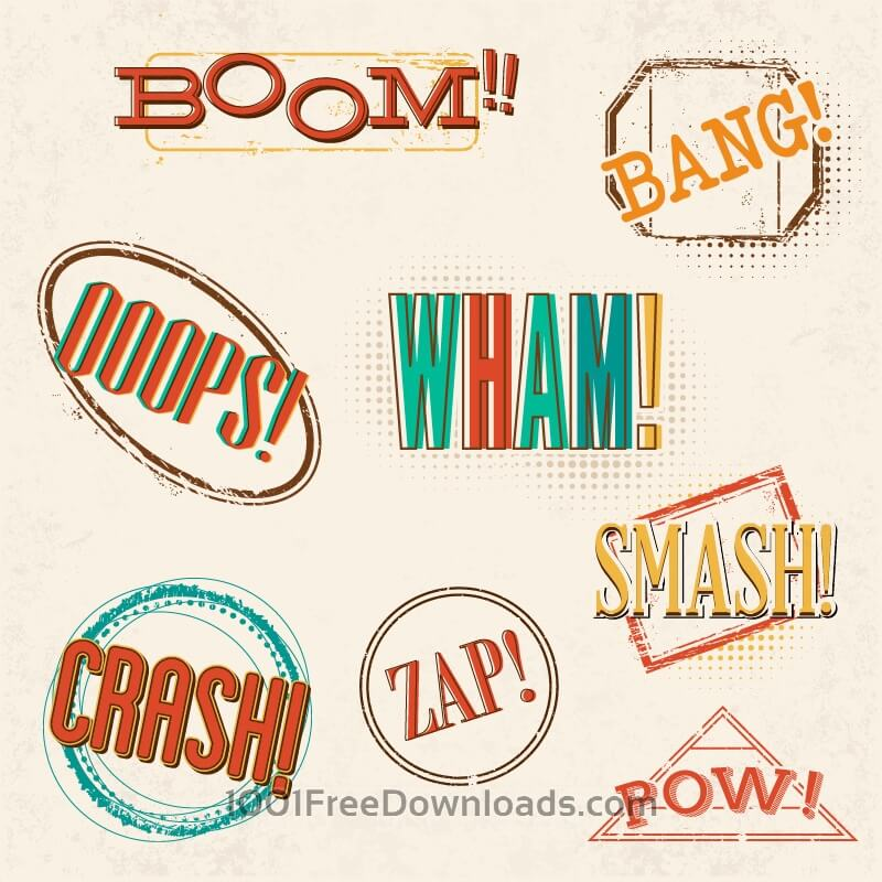 Free Vectors: Retro comic book exclamations | Abstract