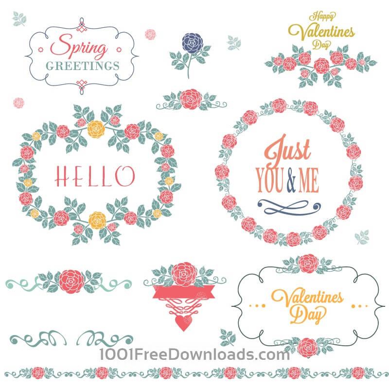 Free Flower set of decorations