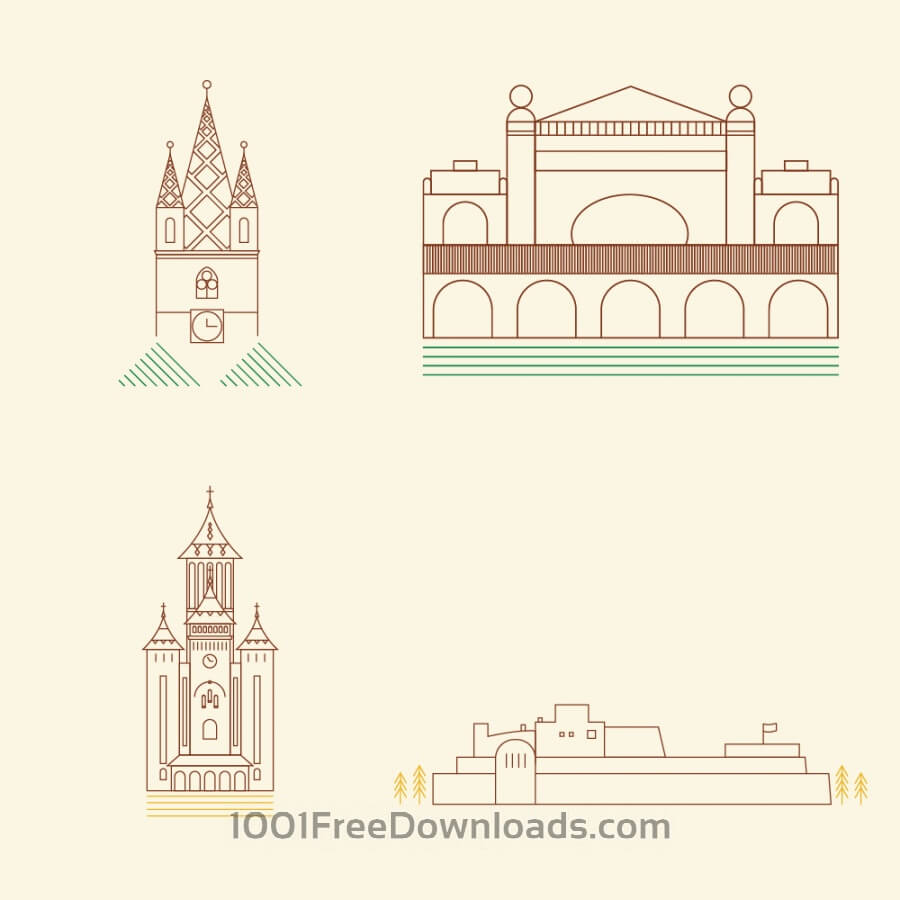Free Vectors: City Landmarks | Cities