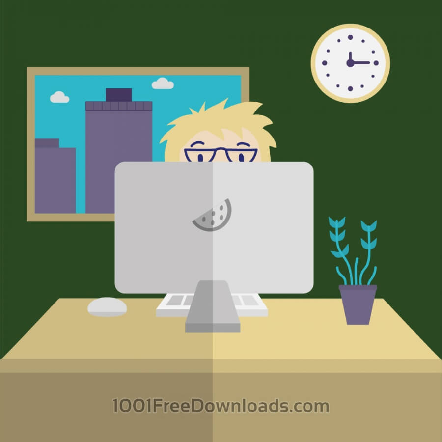 Free Man on Computer