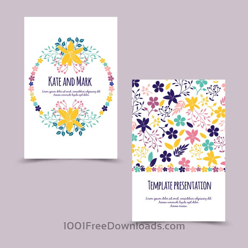 Free Invitation card with floral background