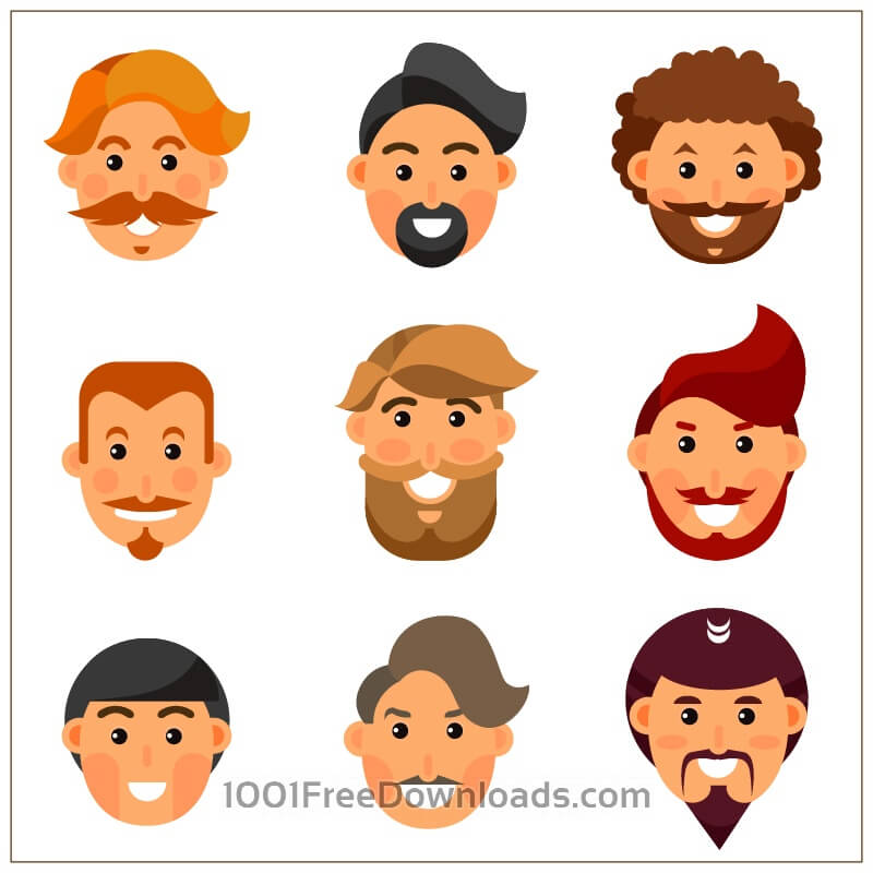Free Vectors: Bearded man avatars  | Objects