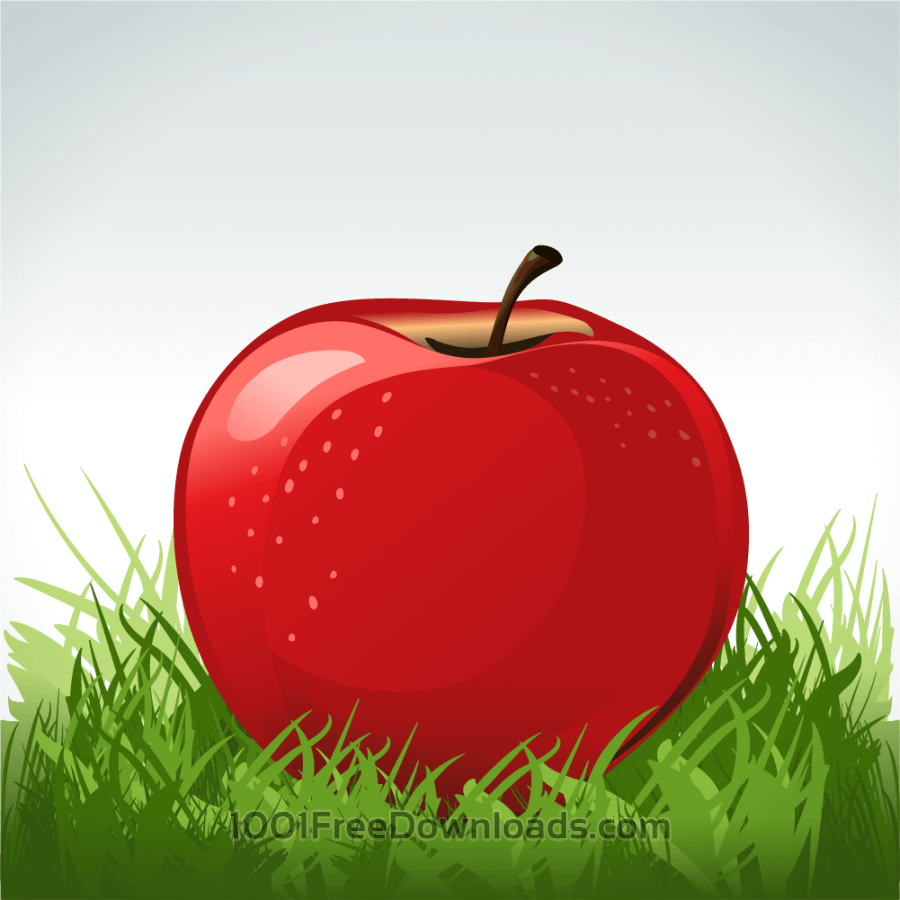 Free Red apple in green grass