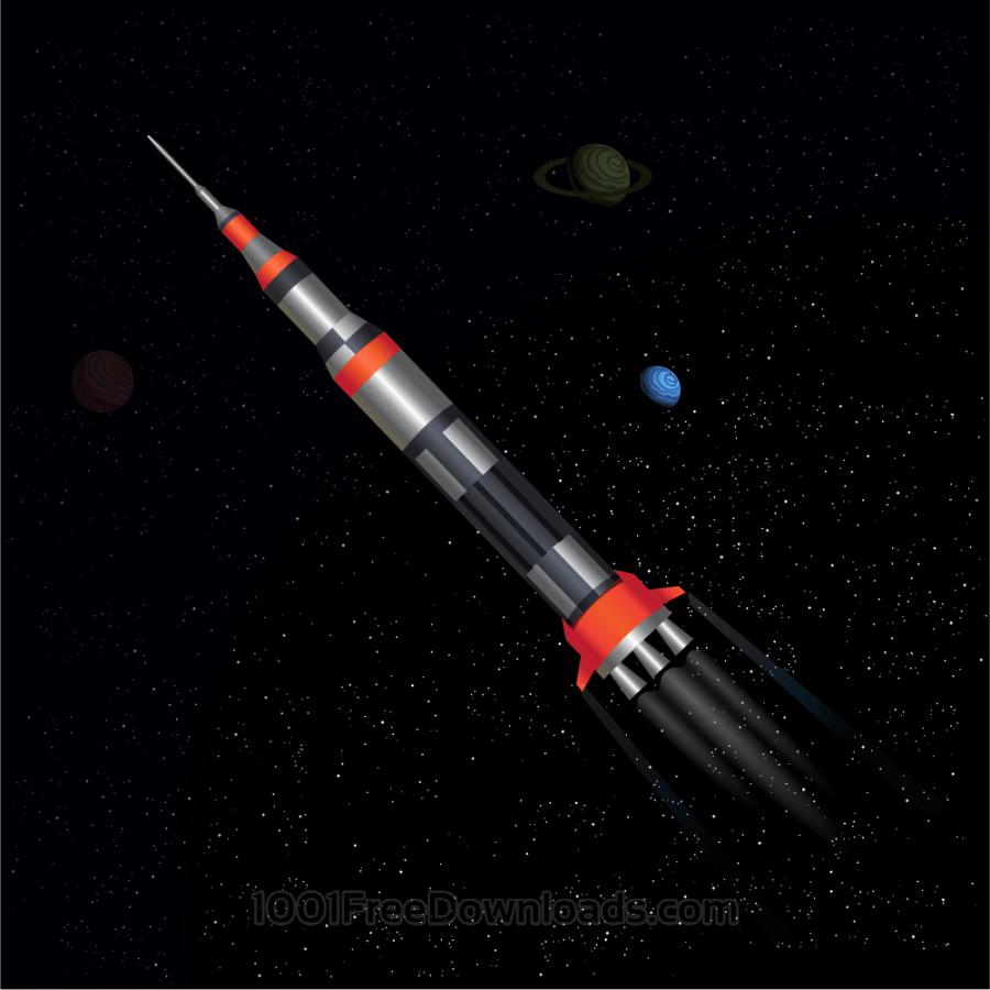Free Vectors: Rocket in space | Travel