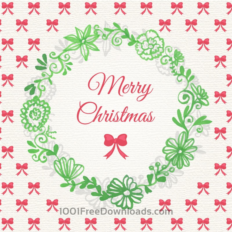Free Christmas background with floral frame