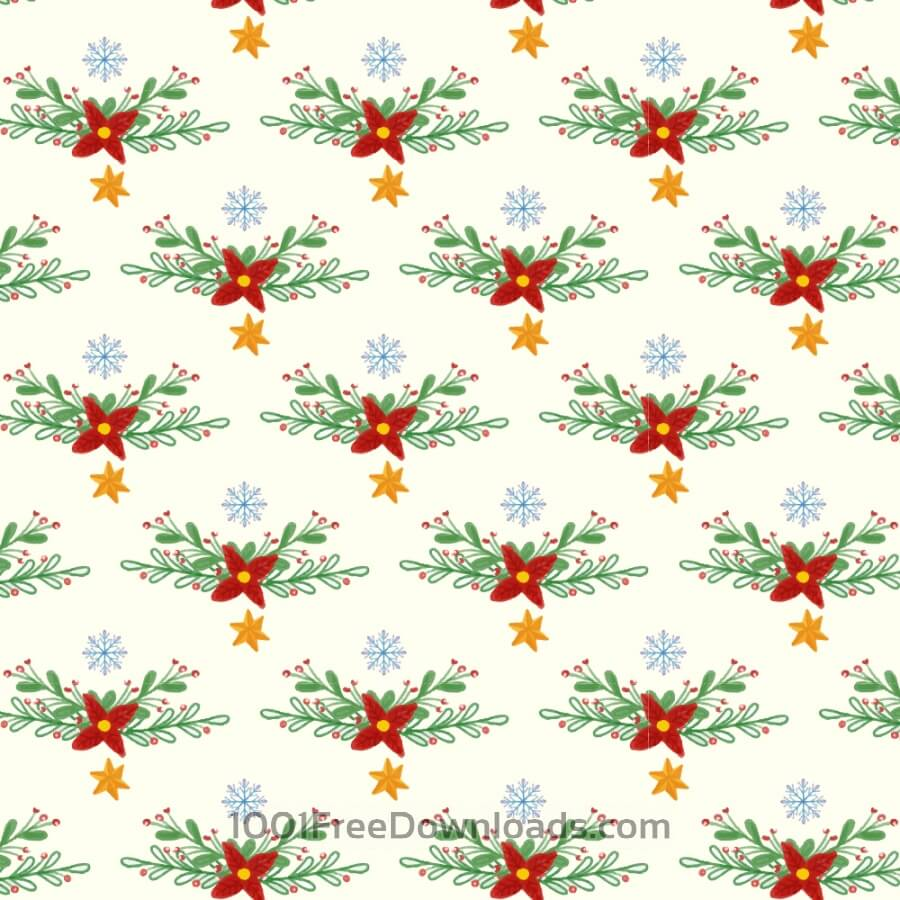 Free Vectors: Christmas pattern with floral decoration | Backgrounds