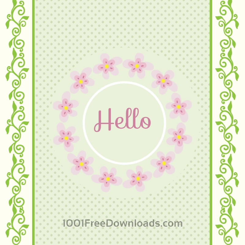 Free Vectors: Spring illustration with frame | Backgrounds